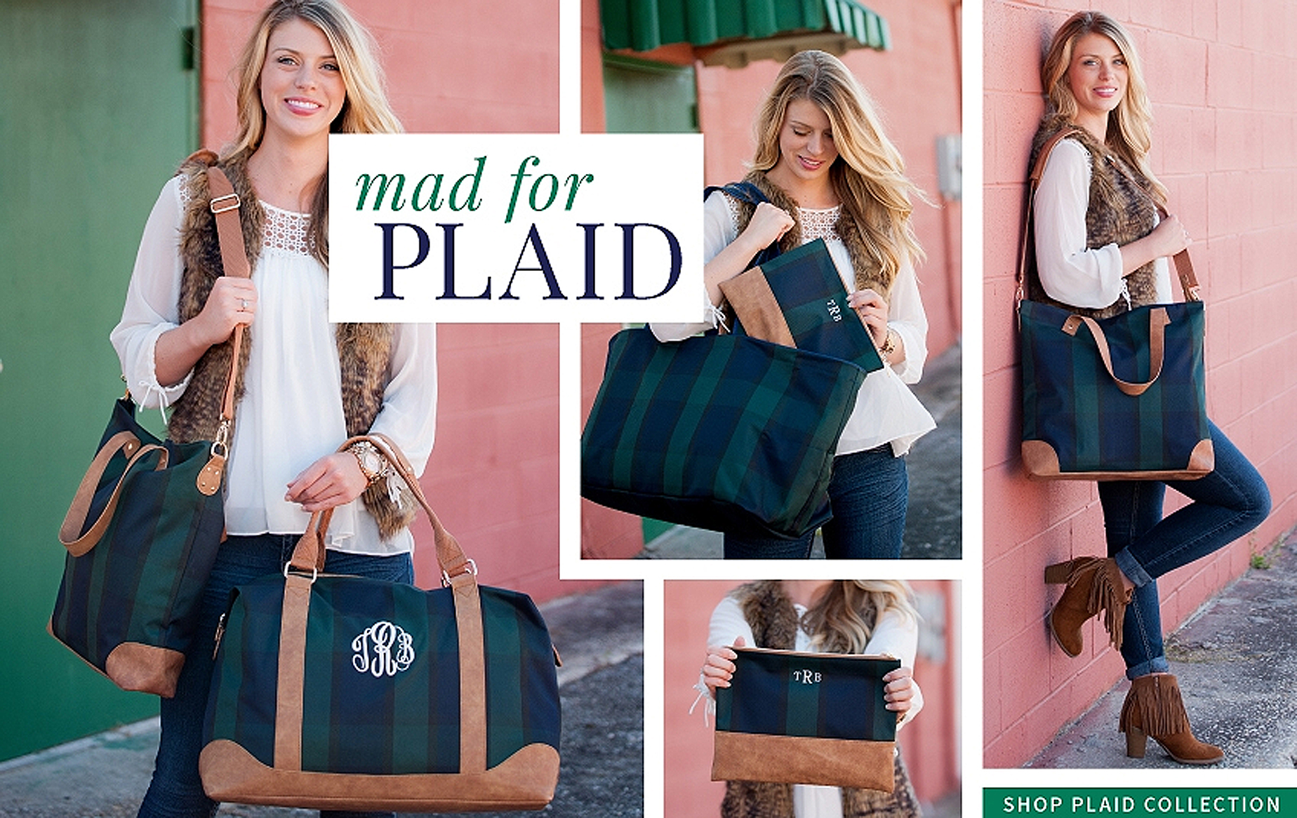 Shop Monogrammed Plaid Bags and Totes