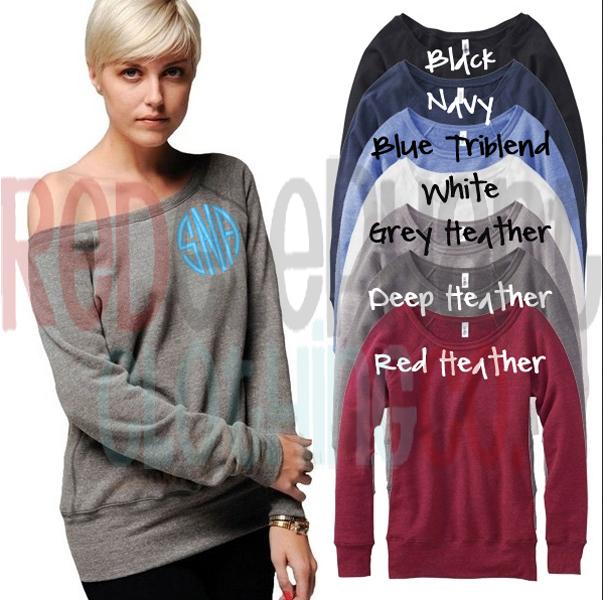 monogrammed wide-neck sweatshirt