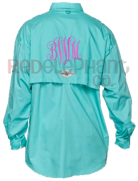 Monogrammed fishing shirts aqua for Monogrammed fishing shirts