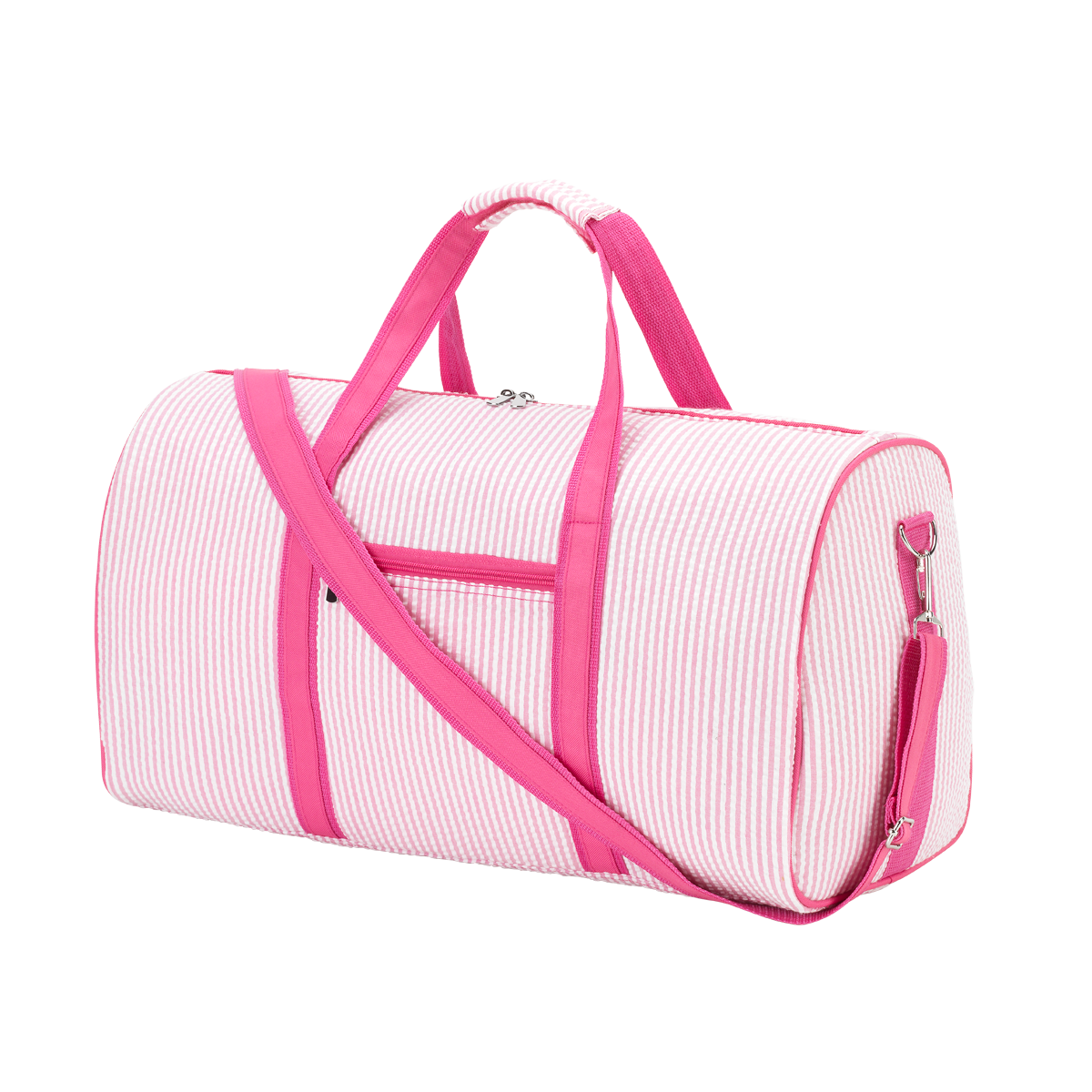 Monogrammed overnight bag pink seersucker