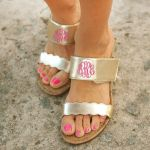 Monogrammed Sandals in Brown