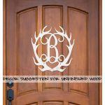 Wooden Monogram Antlers