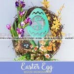Wooden Monogram Easter Egg
