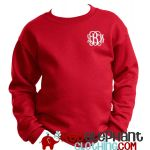 Youth Monogrammed Sweatshirt Red