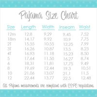 Size Chart for PJs