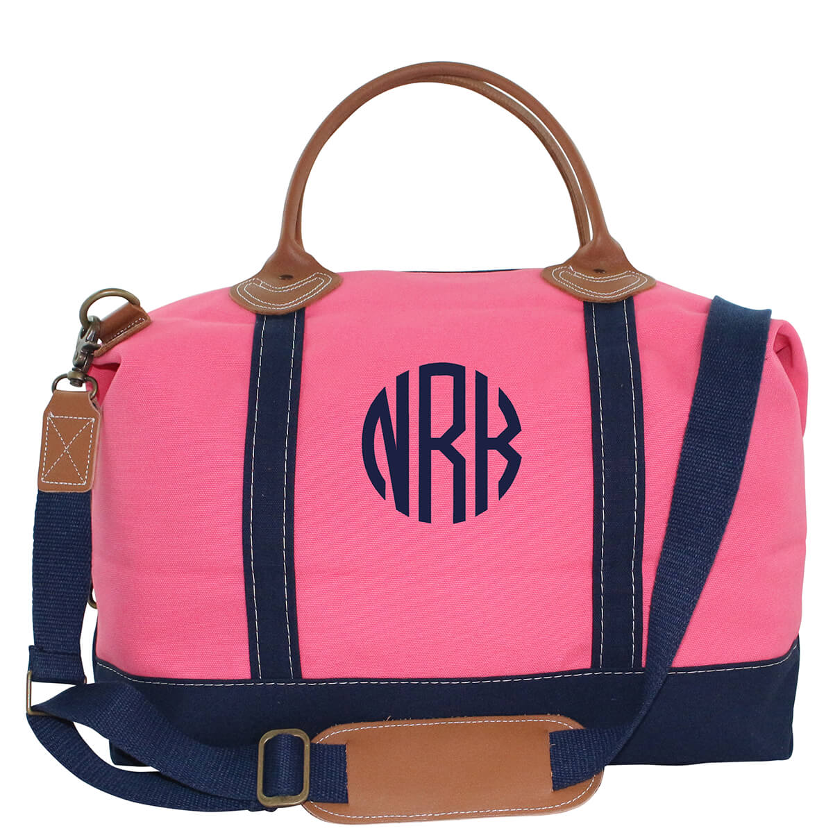 Personalized Weekender Overnight Bag C Pink Navy