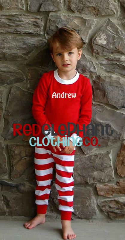 monogrammed kids christmas pajamas