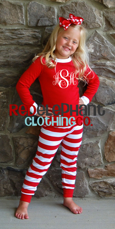 Kids Christmas Pajamas.Monogrammed Kids Christmas Pajamas