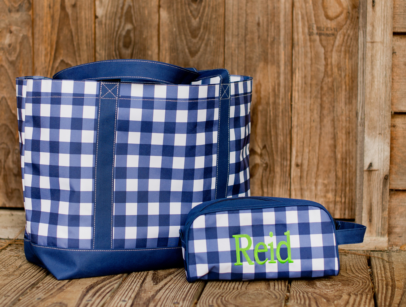 Monogram Tote Bag Navy Checks Bag Owen Tote Bag Navy