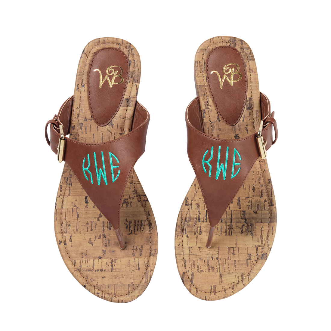 07d8dd020 Monogrammed Sandals - Brown