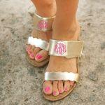 Monogrammed Sandals in Brown
