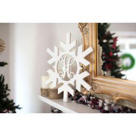 Wooden Snowflake Monogram