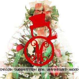 Wooden Monogram Snowman