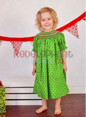 Christmas Smocked Dress With Red Dots