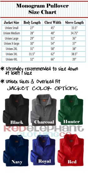 Size Chart and Jacket Colors